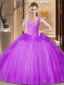 Flirting Purple Tulle and Sequined Backless V-neck Sleeveless Floor Length Sweet 16 Dress Appliques and Ruffles and Sequins