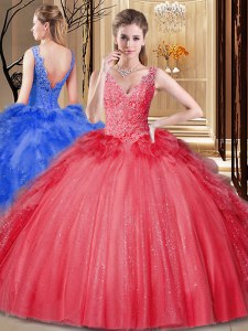 Flare Red Ball Gowns V-neck Sleeveless Tulle and Sequined Floor Length Backless Appliques and Sequins and Pick Ups Vestidos de Quinceanera