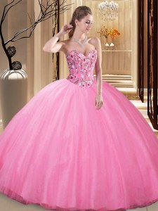 Delicate Rose Pink Tulle Lace Up Quinceanera Gowns Sleeveless Floor Length Embroidery