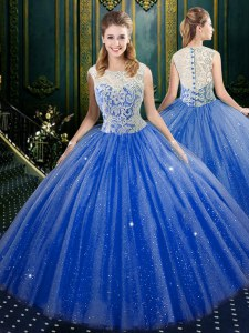 Floor Length Royal Blue Quinceanera Gowns Tulle Sleeveless Lace
