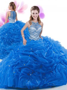 Traditional Court Train Ball Gowns 15 Quinceanera Dress Royal Blue Organza Sleeveless Zipper