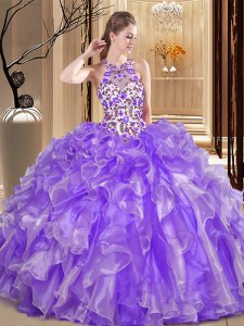 Enchanting Scoop Sleeveless Floor Length Embroidery and Ruffles Backless Sweet 16 Quinceanera Dress with Lavender