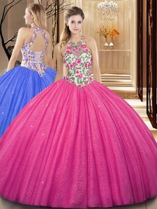 Scoop Hot Pink Ball Gowns Embroidery and Sequins Sweet 16 Dresses Backless Tulle Sleeveless Floor Length