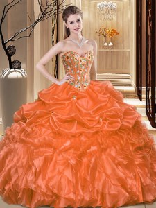 Fitting Floor Length Ball Gowns Sleeveless Orange Quince Ball Gowns Lace Up