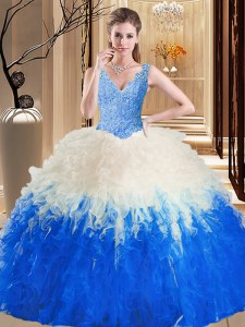 Floor Length Ball Gowns Sleeveless Blue And White Sweet 16 Dress Zipper