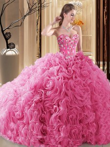 New Style Pick Ups Ball Gowns Quinceanera Dresses Rose Pink Sweetheart Fabric With Rolling Flowers Sleeveless Floor Length Lace Up