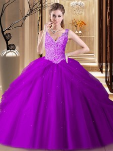 Super Sleeveless Floor Length Appliques and Pick Ups Backless Ball Gown Prom Dress with Purple