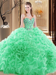 Chic Sweetheart Lace Up Embroidery and Ruffles and Pick Ups Ball Gown Prom Dress Sleeveless