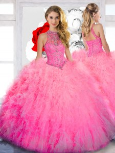 Beading Quinceanera Gowns Baby Pink Lace Up Sleeveless Floor Length