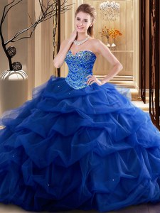 Hot Sale Floor Length Lace Up Quinceanera Gown Royal Blue for Military Ball and Sweet 16 and Quinceanera with Beading