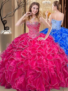 Glamorous Sleeveless Beading and Ruffles Lace Up 15 Quinceanera Dress