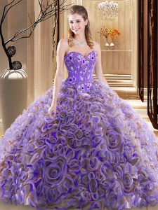 With Train Multi-color Sweet 16 Quinceanera Dress Sweetheart Sleeveless Brush Train Lace Up