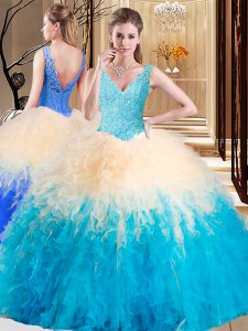 Sleeveless Zipper Floor Length Appliques and Ruffles Sweet 16 Quinceanera Dress