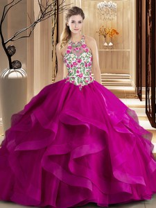 Most Popular Scoop Sleeveless Tulle 15th Birthday Dress Embroidery and Ruffles Brush Train Zipper