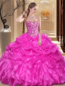 Discount Fuchsia Ball Gowns Organza Sweetheart Sleeveless Embroidery and Ruffles Floor Length Lace Up Quinceanera Gowns