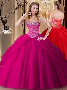 High Quality Ball Gowns Quince Ball Gowns Fuchsia Sweetheart Tulle Sleeveless Floor Length Lace Up