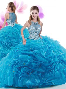 Elegant Baby Blue Sweet 16 Dresses Organza Court Train Sleeveless Ruffles