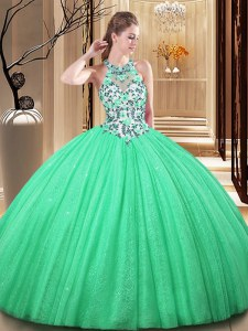 Modern Green Quinceanera Dress Military Ball and Sweet 16 and Quinceanera and For with Lace and Appliques High-neck Sleeveless Lace Up