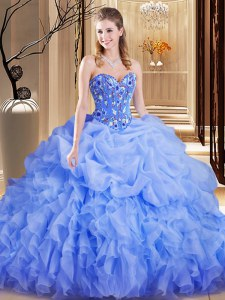 Lavender Sleeveless Brush Train Embroidery and Ruffles and Pick Ups Sweet 16 Dress