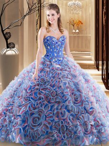 With Train Multi-color Quince Ball Gowns Sweetheart Sleeveless Brush Train Lace Up
