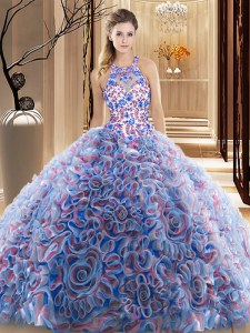 Criss Cross Fabric With Rolling Flowers Sleeveless 15 Quinceanera Dress Brush Train and Ruffles and Pattern