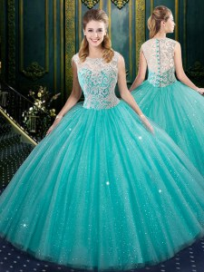 Stunning Aqua Blue Zipper Quinceanera Dress Lace Sleeveless Floor Length