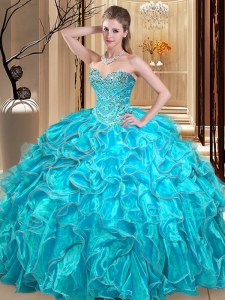 Aqua Blue Ball Gowns Sweetheart Sleeveless Organza Floor Length Lace Up Beading and Ruffles Quinceanera Gowns