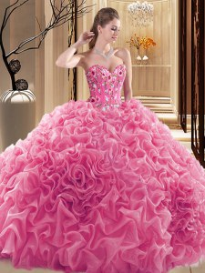 Comfortable Rose Pink Ball Gowns Sweetheart Sleeveless Fabric With Rolling Flowers Floor Length Lace Up Embroidery and Ruffles and Pick Ups Sweet 16 Quinceanera Dress