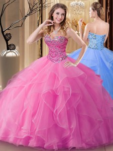 Rose Pink Sleeveless Tulle Lace Up Ball Gown Prom Dress for Military Ball and Sweet 16 and Quinceanera