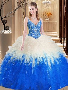 Custom Design Straps Blue And White Sleeveless Tulle Lace Up Sweet 16 Dress for Military Ball and Sweet 16 and Quinceanera