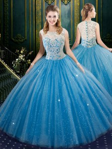 Noble Blue Ball Gowns Tulle High-neck Sleeveless Lace Floor Length Zipper 15 Quinceanera Dress