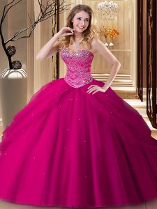 Fantastic Fuchsia Sleeveless Tulle Lace Up Quinceanera Dresses for Military Ball and Sweet 16 and Quinceanera