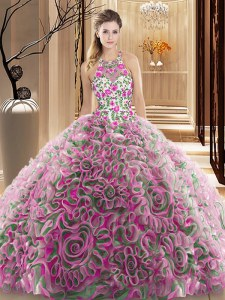 Multi-color Sleeveless Ruffles and Pattern Criss Cross Sweet 16 Dresses