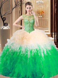 Excellent Sleeveless Backless Floor Length Beading and Ruffles Sweet 16 Quinceanera Dress