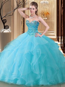 Aqua Blue Ball Gowns Tulle Sweetheart Sleeveless Beading Floor Length Lace Up Quince Ball Gowns