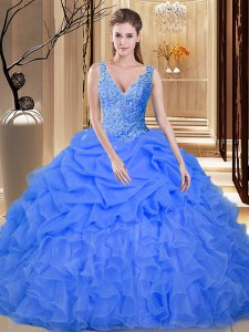 Sleeveless Lace and Appliques and Ruffles and Pick Ups Backless Vestidos de Quinceanera