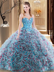 Embroidery and Ruffles 15 Quinceanera Dress Multi-color Lace Up Sleeveless With Brush Train