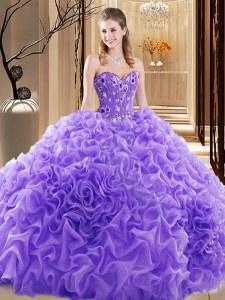 Sweetheart Sleeveless 15 Quinceanera Dress Court Train Embroidery and Ruffles and Pick Ups Lavender Fabric With Rolling Flowers