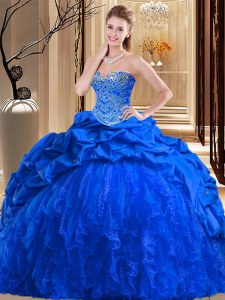 Decent Royal Blue Sleeveless Brush Train Beading and Ruffles Ball Gown Prom Dress