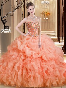 Sleeveless Beading and Embroidery and Ruffles Lace Up Sweet 16 Quinceanera Dress with Orange Brush Train