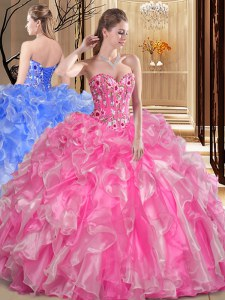 Sweetheart Sleeveless Organza 15th Birthday Dress Embroidery and Ruffles Lace Up