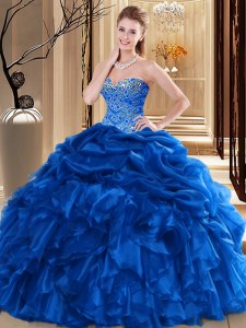 Beading and Pick Ups Sweet 16 Quinceanera Dress Royal Blue Lace Up Sleeveless Floor Length