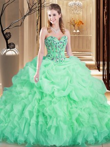Apple Green Organza Lace Up Sweet 16 Dresses Sleeveless Brush Train Embroidery and Ruffles