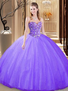 Lavender Tulle Lace Up Quinceanera Dresses Sleeveless Floor Length Embroidery