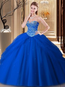 Dazzling Royal Blue Sleeveless Tulle Lace Up Vestidos de Quinceanera for Military Ball and Sweet 16 and Quinceanera