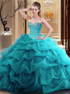 High End Teal Tulle Zipper Sweetheart Sleeveless Floor Length Vestidos de Quinceanera Beading and Ruffles