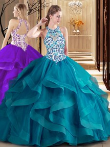 Adorable Scoop Teal Lace Up Sweet 16 Dress Embroidery and Ruffles Sleeveless Brush Train
