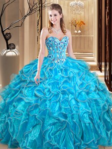 Amazing Sleeveless Lace Up Floor Length Embroidery and Ruffles Sweet 16 Dress