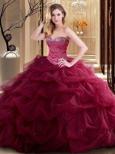 Burgundy Sweetheart Lace Up Beading and Ruffles Quinceanera Gown Sleeveless