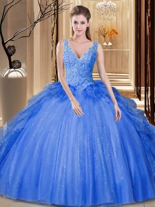 Admirable Royal Blue Sleeveless Floor Length Sequins and Pick Ups Backless 15 Quinceanera Dress